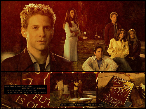Buffy the Vampire Slayer achtergrond possibly with a sign, a newspaper, and anime called Season 3