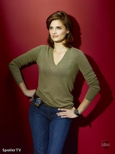 Stana Katic karatasi la kupamba ukuta possibly containing bellbottom trousers, a pullover, and a pantleg called season 2