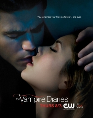 The Vampire Diaries wolpeyper containing a portrait entitled stefan and elena promo poster