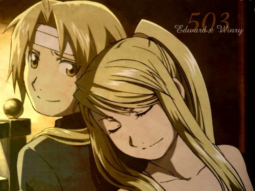 Edward Elric and Winry Rockbell karatasi la kupamba ukuta with anime entitled Canon Love!