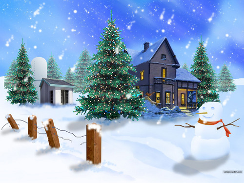 Christmas wallpaper with a chalet titled Build A Snowman