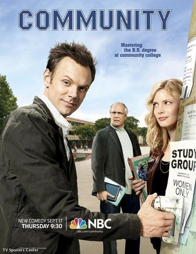 Community wallpaper with a business suit and a sign titled Community Season 1 Promo Posters