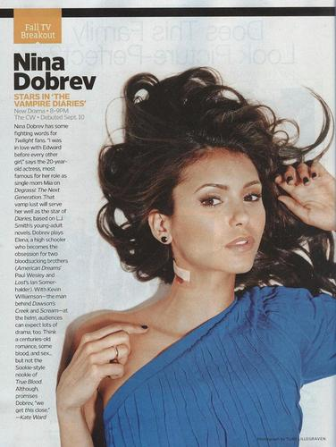 The Vampire Diaries پیپر وال containing a portrait and attractiveness called Entertainment Weekly scan - Nina Dobrev