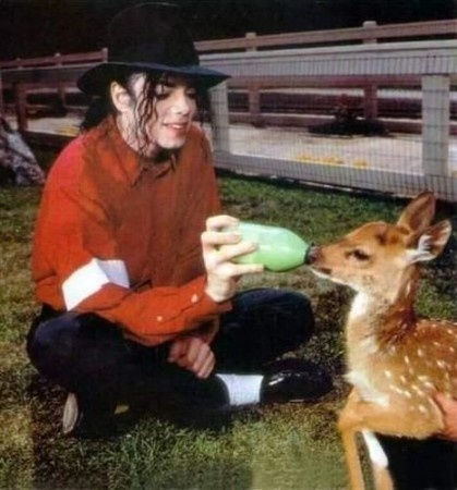 Michael Jackson Feeding a baby dear! (so cute)
