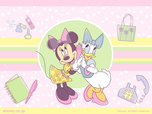 Disney achtergrond possibly containing anime called Minnie and madeliefje, daisy achtergrond