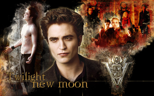 Robert Pattinson wallpaper containing a fire and a sign titled New Moon