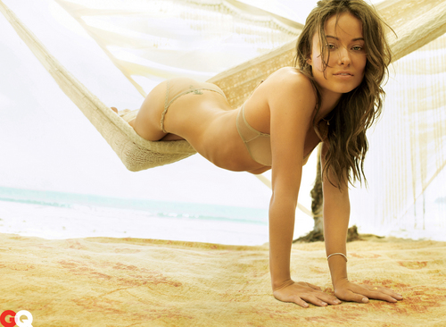 Olivia Wilde wallpaper possibly containing a bikini and skin called Olivia in the October 2009 GQ Photoshoot (High Quality)