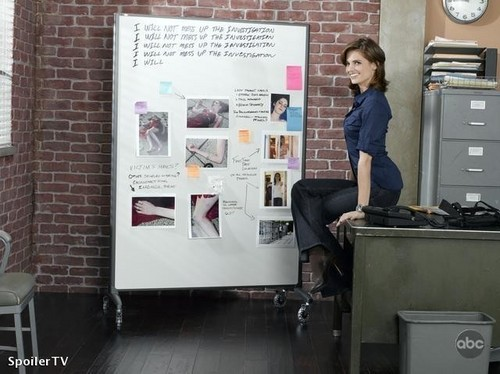 Kate Beckett দেওয়ালপত্র possibly with an ice machine and a sign entitled Beckett Promo season 2