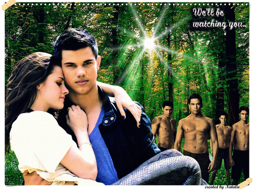 Twilight Series wallpaper possibly with a street and a sign called Bella,Jacob and the pack(1600x1200)