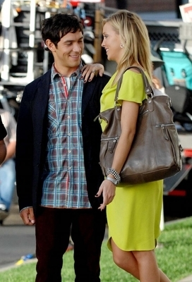 Michael Rady and Katie Cassidy on set of Melrose Place September 2009
