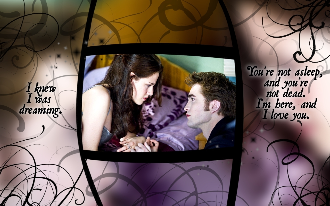 New Moon achtergrond with Edward and Bella