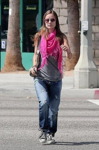 Olivia Wilde leaving her house