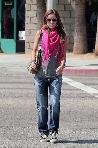 Olivia Wilde leaving her house