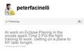 Peter's tweet about filming woods scene - twilight-series photo