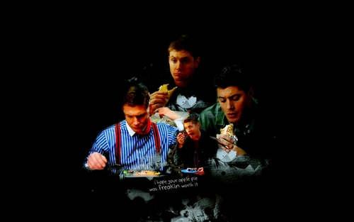 dean winchester wallpaper possibly containing a show, concerto entitled Dean...and comida