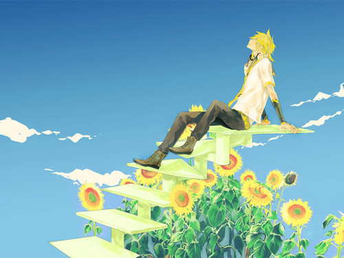 Vocaloids Hintergrund possibly with a bouquet and a japanese aprikose titled Len Kagamine Vocaloid Hintergrund