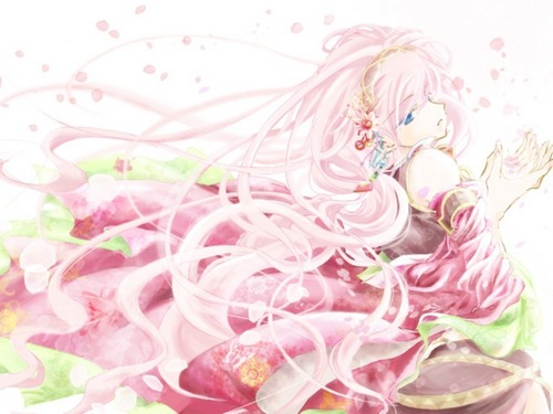 Vocaloids wallpaper containing a bouquet and a rose titled Luka Megurine Vocaloid Wallpaper