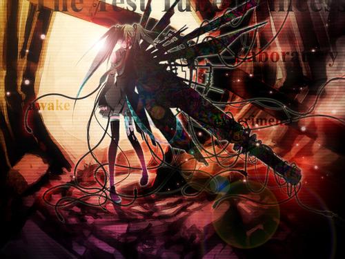 Miku Hatsune Vocaloid karatasi la kupamba ukuta