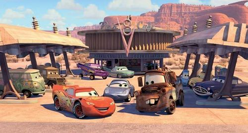 Disney Pixar Cars karatasi la kupamba ukuta possibly containing a street, a resort, and a business district titled Radiator Springs