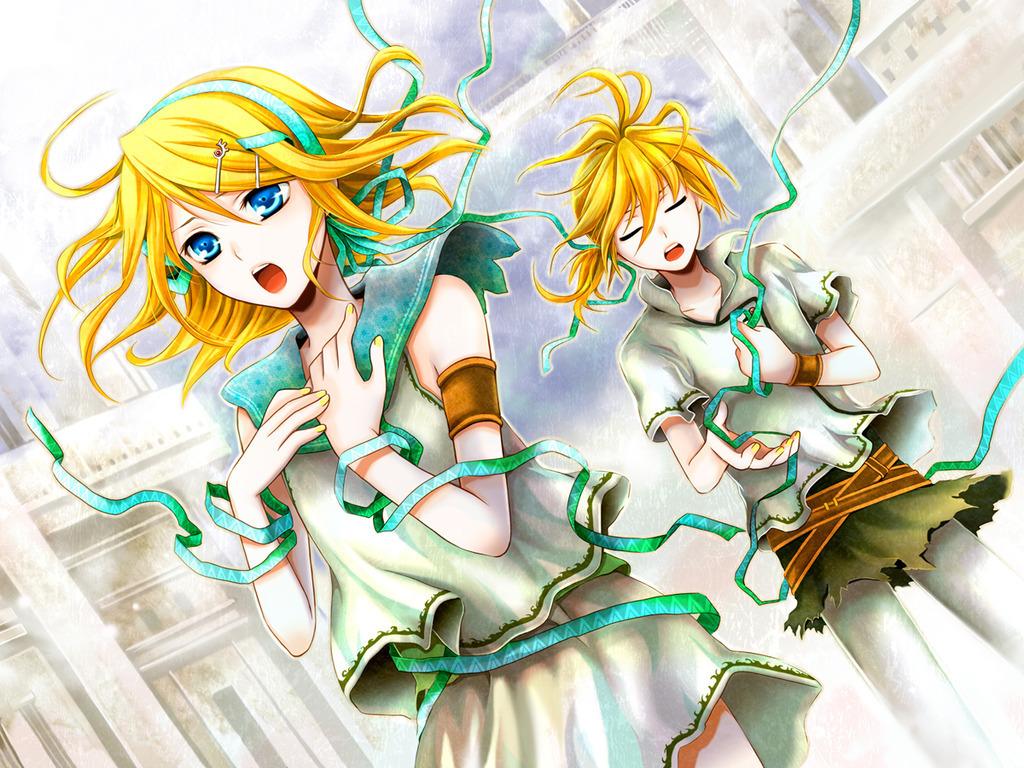 Vocaloid Wallpaper Rin Rin & Len Kagam...