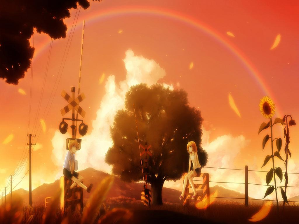 Rin & Len Kagamine Vocaloid karatasi la kupamba ukuta