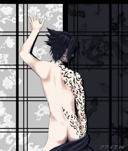 Sasuke Uchiha wallpaper probably containing attractiveness, a portrait, and skin titled Sexy Sasuke