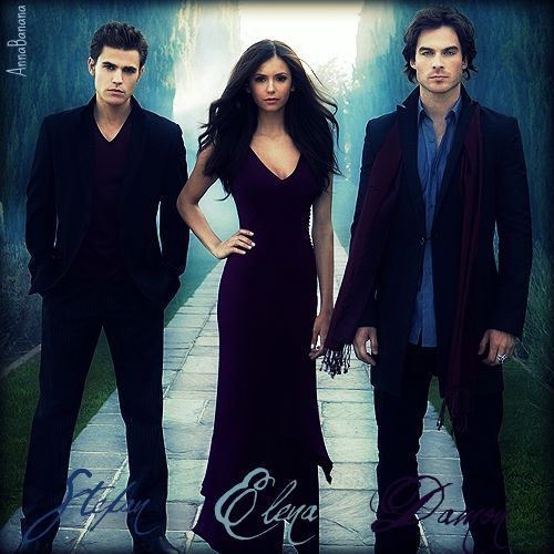 Vampire Diaries karatasi la kupamba ukuta with a business suit entitled Stefan, Elena, and Damon
