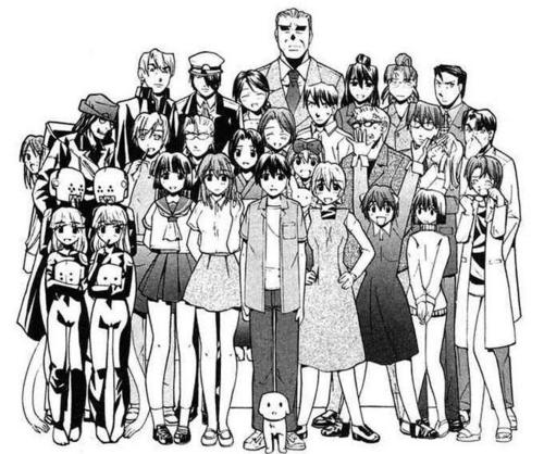 group fotografia of all the characters in elfen lied