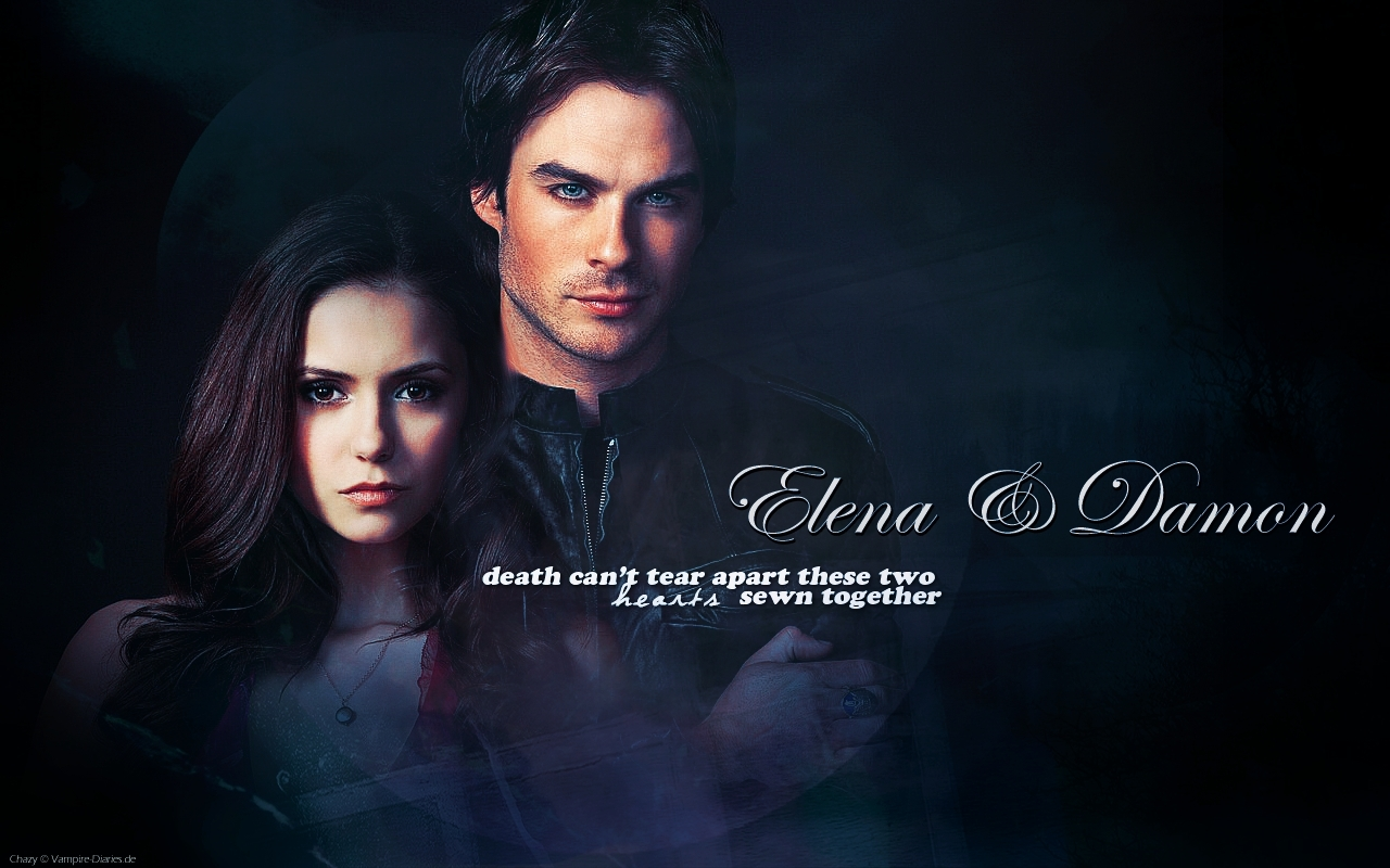 Vampire Diaries – Fernsehserie Hintergrund possibly containing a portrait entitled Damon & Elena