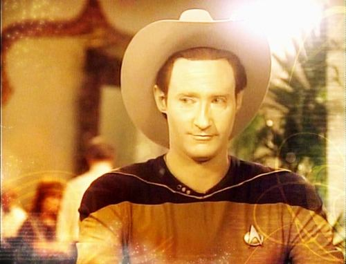 Star Trek wallpaper containing a snap brim hat, a campaign hat, and a fedora entitled Data