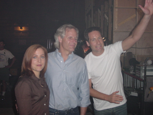 David, GIllian and Chris on Set (The Truth)