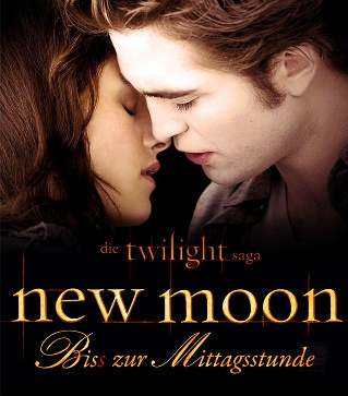 New Moon Movie wallpaper probably with a sign called German Bella & Edward New Moon Poster
