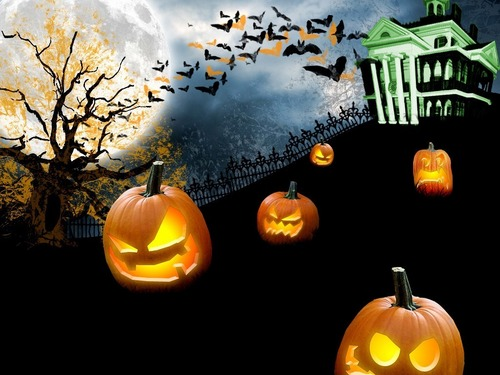 Halloween wallpaper probably with a jack o' lantern and a pumpkin titled Halloween