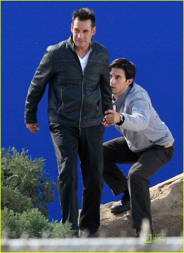 Milo Ventimiglia and Adrian Pasdar flying..