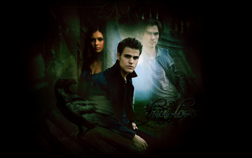 Stefan, Elena and Damon - the-vampire-diaries-tv-show Wallpaper