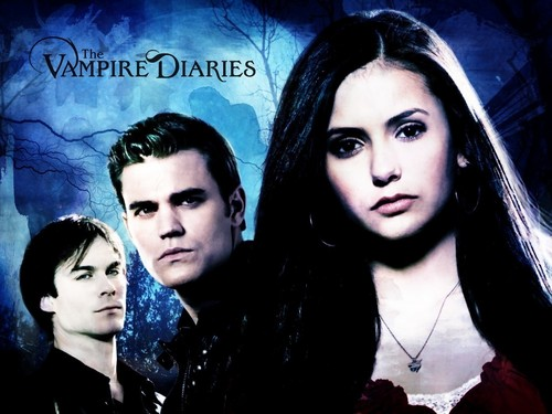 The Vampire Diaries TV Show wallpaper containing a portrait titled Stefan, Elena and Damon