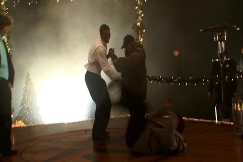 Still shots of Edward falling on set........