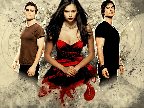 The Vampire Diaries TV Show wallpaper containing a dinner dress and a cocktail dress entitled The Vampire Diaries