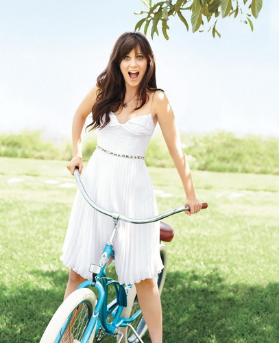 Zooey Deschanel wallpaper containing a tricycle called Zooey Deschanel | Self Magazine Photoshoot (HQ)