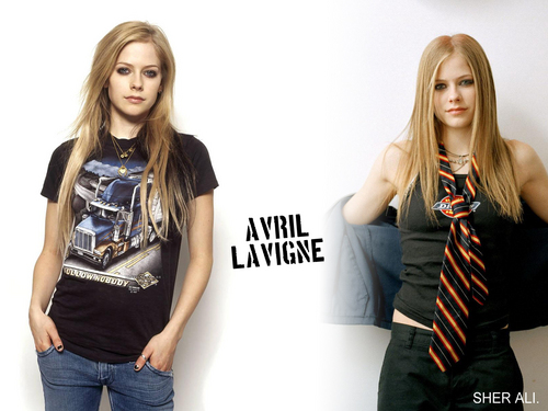 Avril Lavigne پیپر وال possibly with a top, long trousers, and a playsuit, پلایساٹ called avril background :)