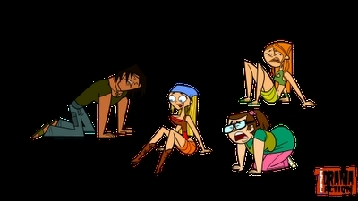Total Drama Island wallpaper possibly with anime called justin, beth, izzy, lindsay with wet hair