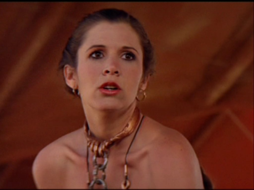 image Princess leia slave costume strips and masturbates