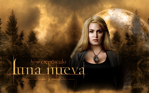Twilight Series wallpaper possibly containing a portrait called luna Nueva - Wallpaper made by me -Rosalie Cullen