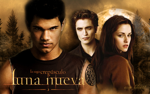 luna Nueva - Wallpaper made by me  - edward, bella and Jacob