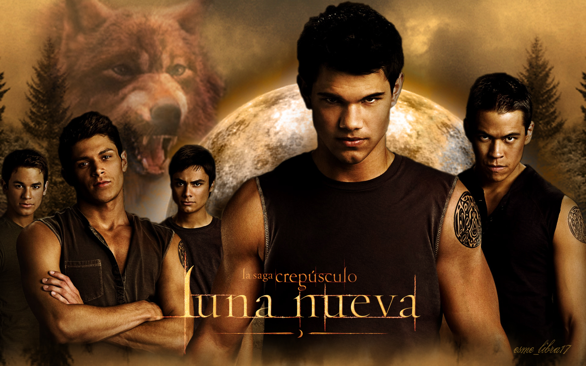 luna nueva - wallpaper made my me - the werewolves - twilight-series wallpaper