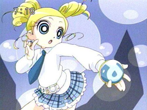 Bubbles and Miyako karatasi la kupamba ukuta probably containing anime called miykao