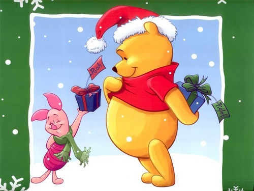 Classic Disney kertas dinding with Anime called pooh Krismas