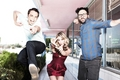 Jim/Kaley (and Johnny) EW magazine - jim-parsons-and-kaley-cuoco photo
