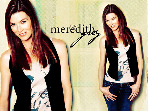 Meredith Grey karatasi la kupamba ukuta with a cocktail dress, a top, and a well dressed person entitled Meredith Grey
