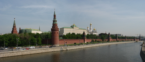 Russia achtergrond with a business district called Moscow kremlin